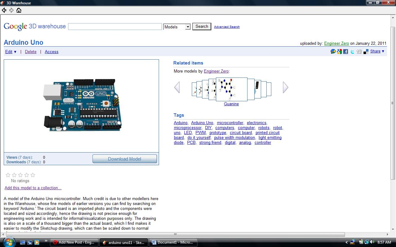 Arduino uno uploaded to google sketchup d warehouse