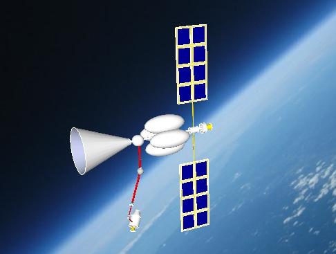 Orbital Hydrogen Collector (OHC) with docking spacecraft